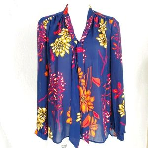 Stylus navy floral tie neck blouse